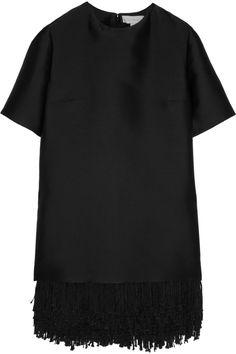 Stella McCartney|Aude fringed satin mini dress|NET-A-PORTER.COM