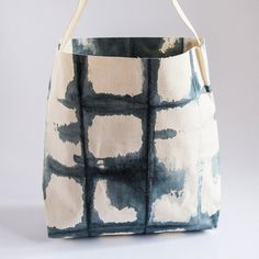 handmade japanese Shibori dots squares Shopper kriss/kross by skjarprints on Etsy