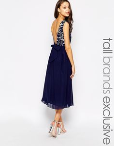 Image 1 of Little Mistress Tall Midi Prom Dress With Plunge Back And Bow