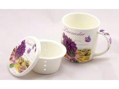 Porcelánový hrnek 390 ml se sítkem a víčkem - levandule Mugs, Tableware, Kitchen, Dinnerware, Cooking, Tablewares, Mug, Kitchens, Place Settings