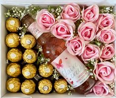 For the Flower & Moscato Lover! Candy Bouquet Diy, Gift Bouquet, Flower Box Gift, Flower Boxes, Diy Gift Box, Diy Gifts, Handmade Gifts, Ribbon Box, Chocolate Gift Boxes