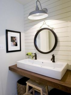 chunky wood floating bathroom vanity, rectangular white porcelain sink, by summer
