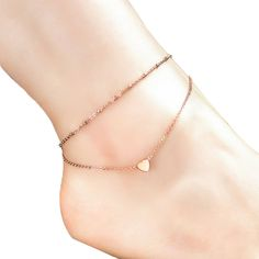 * Penny Deals * - Voberry® Women's Elegant Double Foot Chain Small Heart Bead Anklet Ankle Bracelet Barefoot Beach Foot Jewelry ** See this great product.