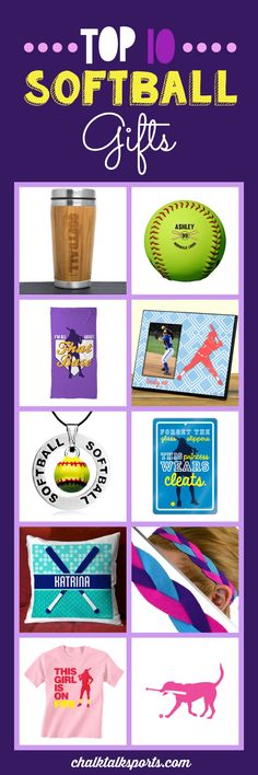 Top 10 softball gift ideas: Perfect gift ideas for holidays, special occasions, and end of season gifts! These products are made-to-order and can be personalized with your team and softball player's info! From custom flip flops to personalized beach towels, there are so many products to choose from at ChalkTalkSPORTS.com!
