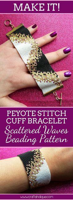Peyote Stitch Pattern for Dramatic & Stylish Beaded Bracelet - Beautiful peyote project! Make a stylish beaded bracelet using the Scattered Waves Peyote Stitch Pa - Beaded Cuff Bracelet, Beaded Bracelet Patterns, Jewelry Patterns, Beaded Necklace, Jewelry Ideas, Bracelet Designs, Embroidery Bracelets, Bead Earrings, Bracelet Patterns