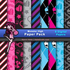 """Free Digital Scrapbook Papers: Monster High from HaleGrafx.Com ✿ Join 6,800 others. Follow the Free Digital Scrapbook board for daily freebies. Visit GrannyEnchanted.Com for thousands of digital scrapbook freebies. ✿ """"Free Digital Scrapbook Board"""" URL: https://www.pinterest.com/grannyenchanted/free-digital-scrapbook/"""