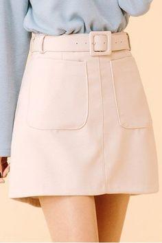 Pretty Belt Skirt   Korean Fashion