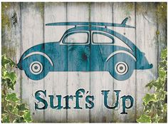 VW Beetle Surf's Up Metal Wall Sign