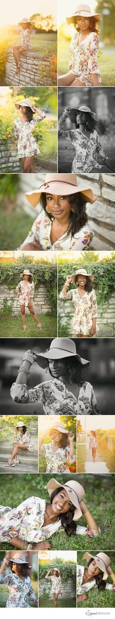 d-Squared Designs St. Louis, MO Senior Photography. Sun senior session. Senior with a hat. Senior posing. GORGEOUS senior. Spring.