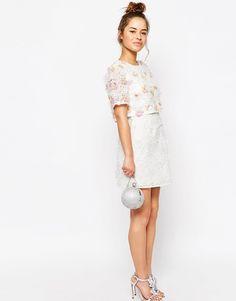 Image 4 ofASOS PETITE SALON 3D Floral Lace Embroidered Crop Top Mini Dress