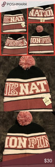 BNWT Pink Nation Promo Beanie w/ PomPom BNWT PINK Nation Promo beanie with pompon.  Begonia, cream and black.  No trades.  Will price drop. PINK Victoria's Secret Accessories Hats