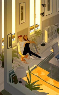 """Sort of like a light shower"" by Pascal Campion Couple Illustration, Illustration Art, Stock Design, Pascal Campion, Color Script, Ligne Claire, Artist Life, Couple Art, Anime Comics"