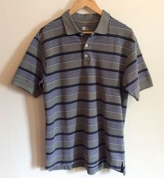 GAP Men Polo Size M Striped Short Sleeves Golf Gray Cotton Chemise Casual Shirt #GAP #PoloRugby