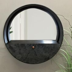 Industrial Round Wall Mirror with Drawer Shelf from The Farthing