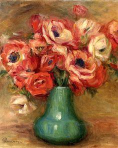 Anemones in a Green Vase  Pierre Auguste Renoir