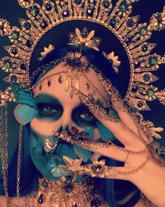 Halloween Chic, Halloween Outfits, Halloween Face Makeup, Halloween Costumes, Sugar Skull Costume, Sugar Skull Makeup, Headdress, Headpiece, Butterfly Halloween Costume