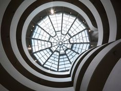 "The Guggenheim's been entrenched in New York's cultural life long enough that it's easy to lose sight of how revelatory a piece of architecture it was — and still is. The winding earth-to-sky ramp with its gallery offshoots, the stack of ""rings"" stepping from light to dark to light again as you climb toward the top — they call to mind great European cathedrals like Siena's Duomo. Which creator Frank Lloyd Wright, who spoke of his intent to make ""a temple of spirit&"