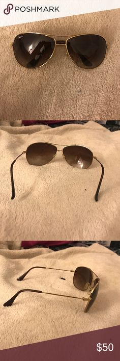 Ray ban sunglasses aviators Gold outlining brown/tanish lenses Ray-Ban Accessories Sunglasses