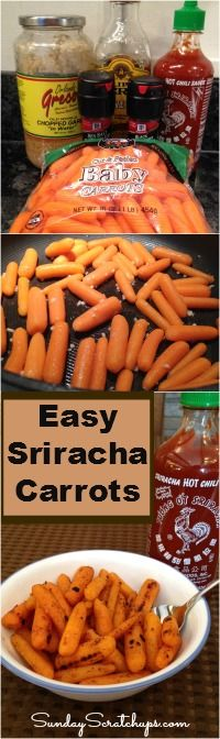 Easy Sriracha Carrots -- cheap and quick sweet + spicy side, plus, naturally gluten free and dairy free! Healthy Cooking, Healthy Snacks, Healthy Eating, Cooking Recipes, Healthy Recipes, Healthy Side Dishes, Vegetable Side Dishes, Vegetable Recipes, Sirracha Recipes