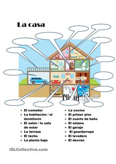 casa - With each room could also practice forming sentences by applying terms that relate to that room like <Yo cocino comida en la cocina,> or <mi cuarto favorito en la casa es --- porque. Spanish Worksheets, Spanish Teaching Resources, Spanish Vocabulary, Spanish Activities, Spanish Language Learning, Vocabulary Activities, Spanish Basics, Spanish 1, Spanish House