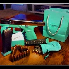 Now that's my kind of Tiffany's present…fuck the ring #glock #9mm #tiffanysgun #triggahappy by pixiepap