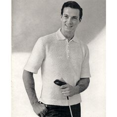Men Short Sleeve Polo Shirt Knitting Pattern S-M-L.    Casual and comfortable, the shirt has a small diagonal pattern stitch and features elbow length sleeves, a notch collar, front 4 button closure and hip length.