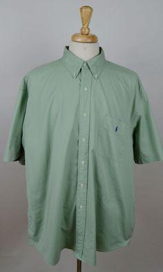 men's Polo Ralph Lauren light green short sleeve button cotton pocket XXL shirt #PoloRalphLauren #ButtonFront