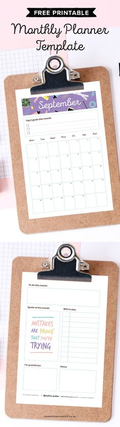 Get a new free printable monthly planner every month to insert in your A5 planner or larger binder. Get September's calendar/planner here.