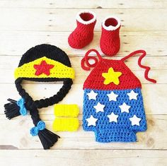 Crochet Baby Wonder Woman Costume Set Romper Hat Beanie Arm Cuffs Shoes Boots Handmade Baby Shower Gift Photography Prop Set includes everything pictured and is
