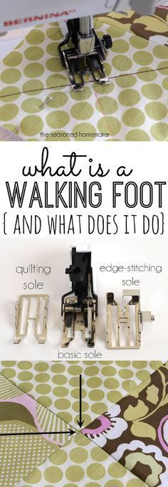 Learn what exactly a Walking Foot is usedfor. The Seasoned Homemaker. It is the ideal option for sewing knits on a regular machine and keeping slippery or bulky materials from shifting while you sew.  Joining patterned seams or quilting with different fabrics and batting are much much more manageable.