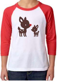 Reindeer Raglan Shirt Rudolph Unisex 3/4 Sleeve by RiffRafCrafts
