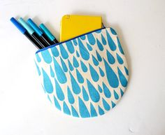 Pretty Pouch Hand Painted Blue Rain Canvas by BarbaLeatherStudio