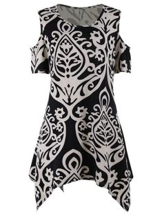 ccd2b93f7d Cold Shoulder Printed Plus Size Tunic Top  Plus  Size  Blouses  Fashion