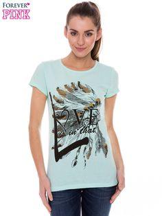Jasnozielbbyf gk jovony t-shirt z nadrukiem indianina jasny zielony Bluzki \ T-shirty NEW 19.90 Forever Pinrrovjkk \ Bluzki \ T-shirty Butihvjok 148359
