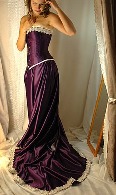 Guinevere - Custom made cadbury purple and antiqued ivory corset gown by BoundByObsession on Etsy https://www.etsy.com/listing/67257585/guinevere-custom-made-cadbury-purple-and