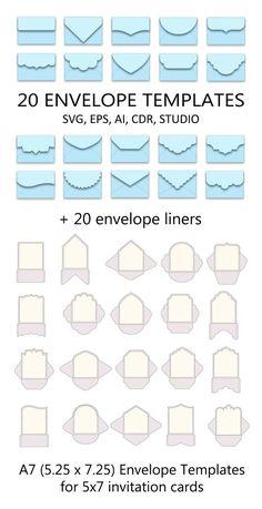 Set of 20 Envelope Templates x for invitation card > SVG, ai, CRD, eps > Cricut > Envelope Art, Envelope Templates, Envelope Tutorial, Origami Templates, Origami Envelope, Box Templates, Fold An Envelope, Paper Craft Templates, Envelope Pattern