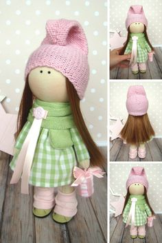 Rag doll Baby doll Handmade doll Tilda doll Butterfly doll Muñecas Art doll Fabric doll Green doll Bonita Cloth doll Textile doll by Olga G
