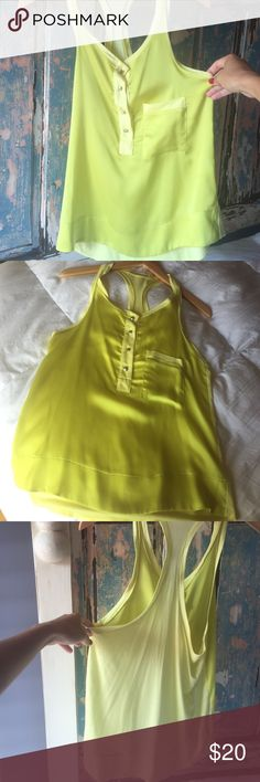 Adorable yellow tank Perfect condition in front is silk really good finished fits medium and large Rio de janeiro Tops Tank Tops