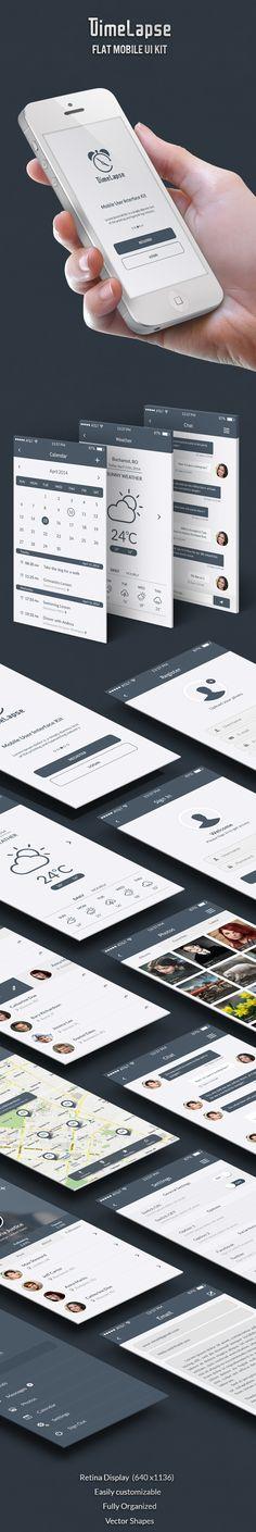 Timelapse - Flat Mobile UI Kit  by Azamfirei Daniel, via Behance