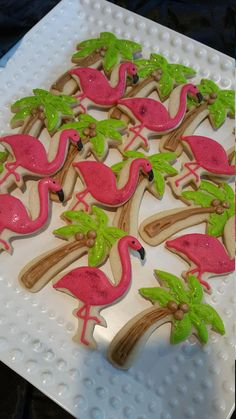 Flamingos and Palm Tree Cookies