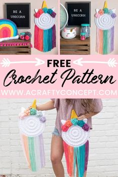 How to crochet an adorable, Unicorn wall hanger. Perfect crochet project for unicorn lovers! #freecrochetpattern #crochetunicorn
