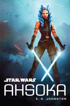 This stunning cover to E.K. Johnston's young adult novel was created by Polish concept artist Wojtek Fus and depicts Ahsoka Tano posing in the foreground with her two white lightsabers while a battle rages on in the background. Standing tall and defiant, she can be seen wearing an outfit that was originally designed for an unproduced The Clone Wars' story arc.  https://team-ahsoka.com/2016/07/20/star-wars-ahsoka-cover-revealed-at-star-wars-celebration-europe/