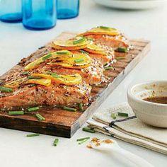 Mustard-Glazed Planked Salmon   MyRecipes.com