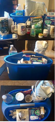 Cold Caddy/Sick Caddy is what I call it. When ur sick, the last thing u want 2 do is go back in2 a room u left 2 get something u need. So put it all in 1 of these cleaning caddies u can get @ $ store & is very sturdy. My list 4 what goes in it: tissues, cough drops, Rx u r taking, airborne &/or Emergen-C, Mucinex, Afrin 2 completely get rid of stuffy nose, Zicam, Tylenol, H2O bottle 2 take pills & keep hydrated, chapstick, hand sanitizer 2 protect urself & every1, lotion b/c of all the…