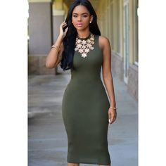 Army Green Sleeveless Open Back Bodycon Party Dress ($23) ❤ liked on Polyvore featuring dresses, olive green bodycon dress, olive green dress, sexy dresses, sexy fitted dresses and sexy cocktail dresses