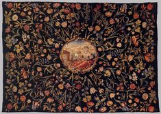 Dutch Tablecloth with Flora in a cartouche, 1660-80s. Tapestry, woll and silk. Rijksmuseum, Amsterdam
