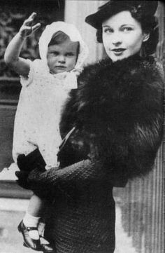 A rare image of Vivien Leigh holding her daughter Suzanne