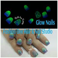 Glow in the dark gel #GlowInTheDark #coloredgels #coolnails #nailsbytammy