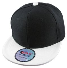 Blank Acrylic Snapback Cap - Kids - Black/White