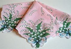 PINK Handkerchief Stunning Lily of the Valley Sprays Bride to Be